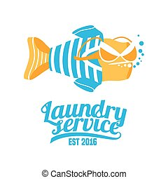 Laundry service vector logo, original design