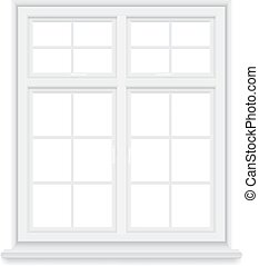 traditional white window isolated - Traditional white window...