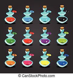 Big set bottles with potions - Set bottles with different...