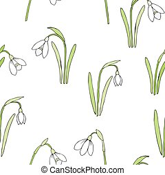 Seamless pattern with snowdrops