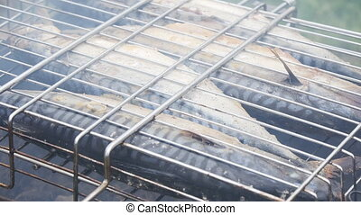 Grilled fish on the grill - grilled fish on the grill...