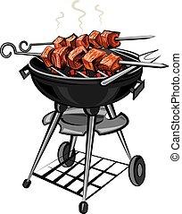 grilled kebabs - grilled hot meat kebabs on skewers