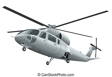 flying helicopter - silver flying helicopter with chassis in...