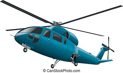 flying blue helicopter - blue flying helicopter with chassis...