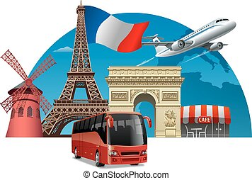 tour in france - concept illustration of travel and tour in...