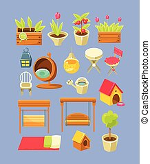 Garden Interior Elements Set Of Bright Color Simplified...