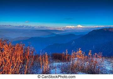 Chilly winter sunrise at Lunhgthang, Sikkim, West Bengal,...