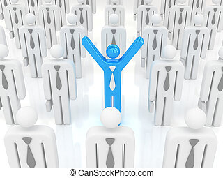 one business man hands up in crowd - 3d image,one business...