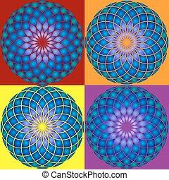 Collection of 4 Mandala. Seamless pattern.