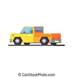 Yellow Car Icon - Yellow Car Vector Design Simple Graphic...