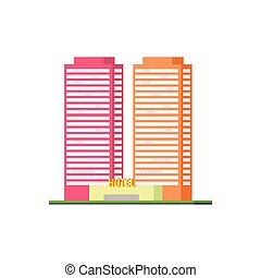 Urban Hotel Building Vector Design Simple Graphic...