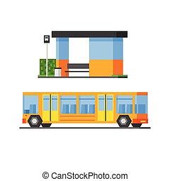 Bus And Public, Station - Bus And Public Bus Station Vector...