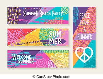 Summer party design set in vibrant colors palette