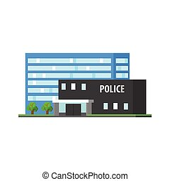 City Police Station Vector Design Simple Graphic...