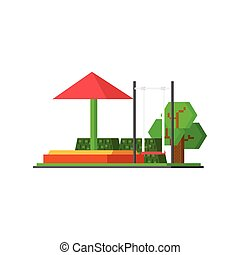 City Kids Playground Vector Design Simple Graphic...