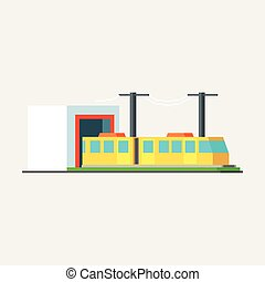 Metro Train Exiting Tunnel Vector Design Simple Graphic...