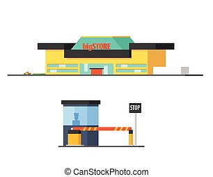 Shopping Mall And Checkpoint Vector Design Simple Graphic...