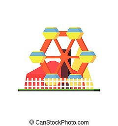 City Amusement Park Vector Design Simple Graphic...