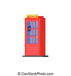 City Public Phone Box Vector Design Simple Graphic...