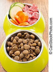 Meat and dry dog's food