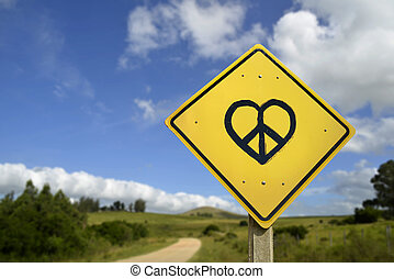 Dream of peace and love road sign icon concept