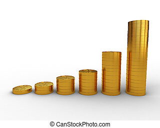 Money profit - 3d image,Financial chart consisting of gold...