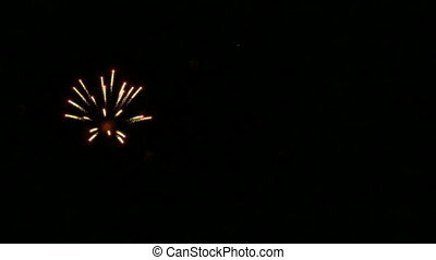 Colorful fireworks in slow motion