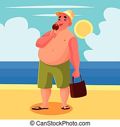 Fat man eating ice cream on the beach
