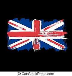 Flag of Great Britain on a black background.