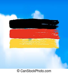 Flag of Germany against the sky.