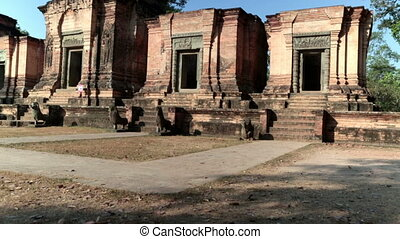 Banteay Srey Temple on a sunset, Siem Reap, Cambodia -...