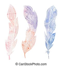Set of hand drawn feathers with boho pattern and watercolor...