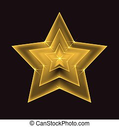 Vector illustration of a transparent golden star with glitter. Vector element for your design