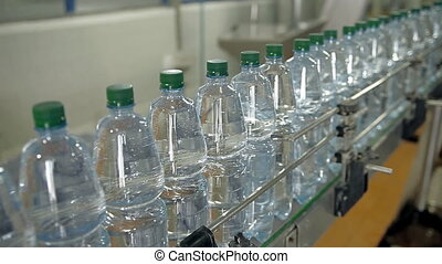 A line for bottling mineral water into bottles