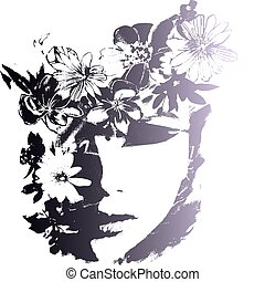 lady face with flower and butterfly