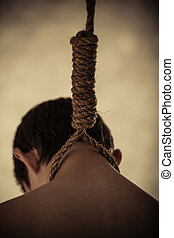 Young Boy Hanging by Neck from Rope Noose - Close Up Rear...