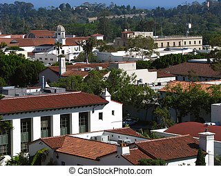 Historic old town rooftops in Santa Barbara California.