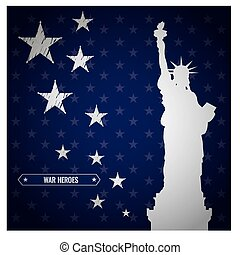 Memorial day - Blue background with text, stars and a...