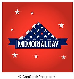 Memorial day - Isolated napkin with some stars on a red...