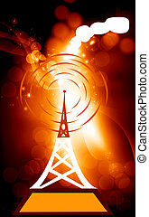 Antenna - Illustration of antenna tower in blue background...