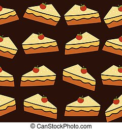 cherry top tart cake vector art illustration