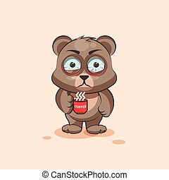 isolated Emoji character cartoon Bear nervous with cup of coffee sticker emoticon