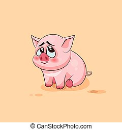 isolated Emoji character cartoon Pig embarrassed, shy and...