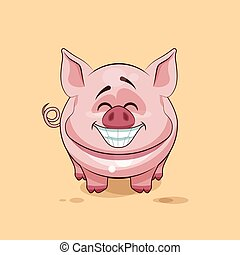 isolated Emoji character cartoon Pig with a huge smile from...