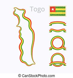 Colors of Togo - Outline map of Togo Border is marked with...
