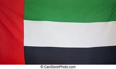 UAE Flag real fabric Close up 4K - Textile flag of UAE with...