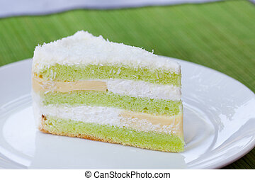 Pandan layered cake Traditional Indonesian desert Stone...