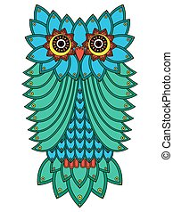 Big owl mainly in blue and green - Big serious owl mainly in...