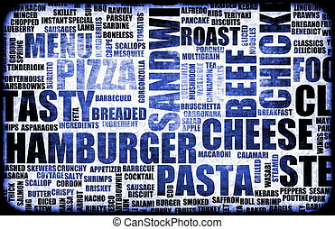 Blue Food Menu Background as Grunge Template Mat