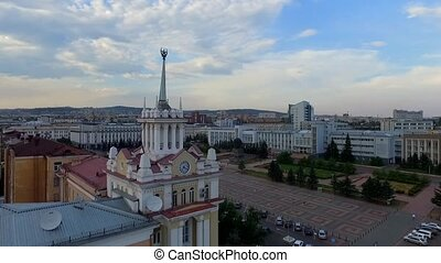 Downtown Ulan-Ude flight drone shot aerial view Russia,...